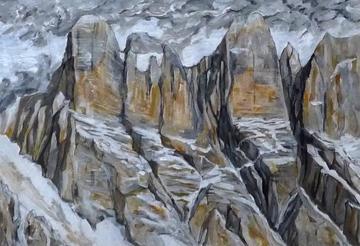 Torri d'Alleghe e Valgrande in Civetta, tempera