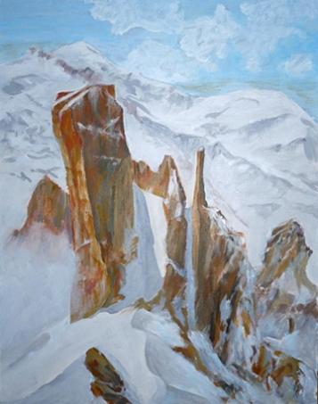 Cosmique, Mont Blanc, tempera.