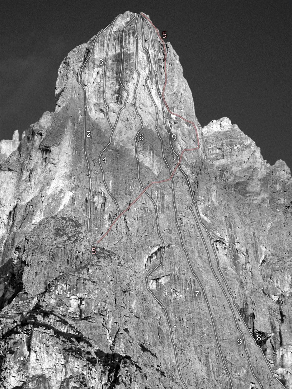 Sass Maòr, la supermatita delle Dolomiti Sass_maor_parete_est_e_est_sud_est_linee-_foto_marco_cabbia